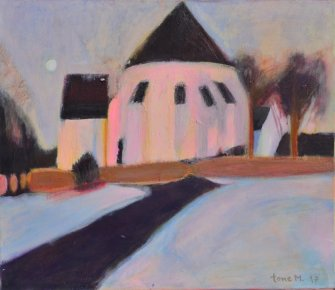Tone_Myging_akryl_paa_laerred-canvas_Oesterlars_kirke_church_70x60cm_small.JPG