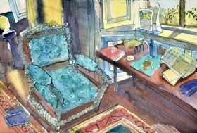 Anne_Cirkola_2_Turkis_Stol_36x24cm_interior-akvarel-watercolour_small.JPG
